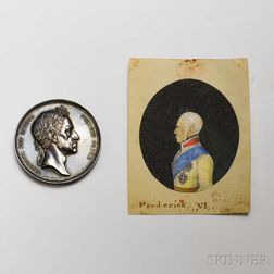 Frederick VI of Denmark Commemorative Silver Medal and a Portrait Miniature.
