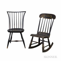 Two Windsor Chairs, a Black-painted Rocking Chair, and a Queen Anne Maple Side Chair.     Estimate $200-300