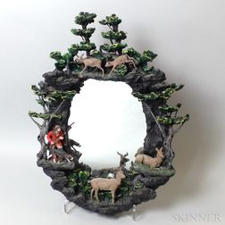 Molded Composite Mirror Depicting a Hunting Scene