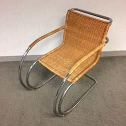 Tubular Chromed Steel and Rattan Armchair