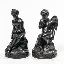 Pair of Wedgwood Black Basalt Cupid and Psyche Figures