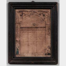 Engraved, Watercolor, and Manuscript John and Deborah Newell Family Register