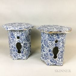 Pair of Maddock's Blue and White Transfer-decorated Ceramic Stools