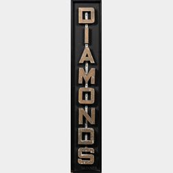 "Gold-painted ""Diamonds"" Sign"