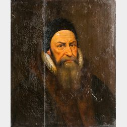 Dutch School, 17th Century Style      Bearded Man in a Ruff and Black Cap