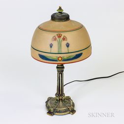 Egyptian Revival Polychrome Painted Metal and Glass Desk Lamp