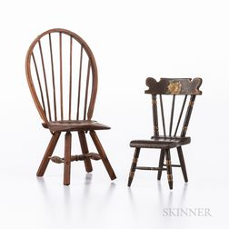 Two Carved and Painted Miniature Chairs