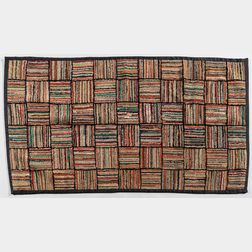 Hooked Rug with Geometric Design