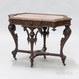Renaissance Revival Carved Walnut Marble-top Table