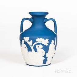 Modern Wedgwood Solid Royal Blue Jasper Portland Vase