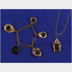 18kt Rose Gold and Chalcedony Locket/Watch Fob