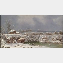 American School, 19th Century  Winter Landscape.