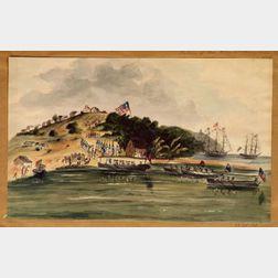 Attributed to Henry Schreiner Stellwagen (American, d. 1866)    Return of Governor Roberts, Monrovia, Africa, c. 1841-44