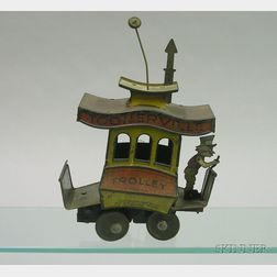 Nifty Lithographed Tin Toonerville Trolley