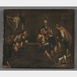 Dutch School, Manner of David Teniers the Younger (Flemish, 1610-1690)      Tavern Interior