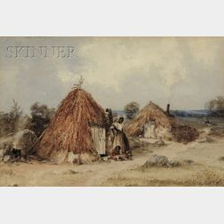 Attributed to Charles H. Parsons (American, 1821-1910)      Two Figures by a Thatched Hut