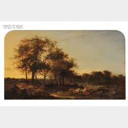 George Augustus Williams (British, 1814-1901)      Evening, View Near Some Oaks. Kent.