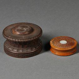 Ornamentally Turned Kingwood Casket and a Small Turned Wood Box