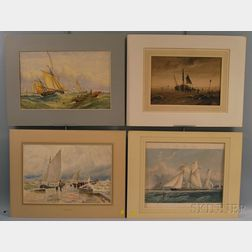 Four Unframed Works on Paper with Sailing Themes:      Attributed to Albert Goodwin (British, 1845-1932), A Jetty