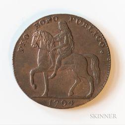"""1794 Coventry Lady Godiva """"Pro Bono Publico"""" Halfpenny Conder Token, DH-248"""