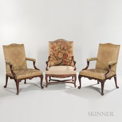 Louis XIV-style Tapestry-upholstered Walnut Fauteuil and a Pair of Armchairs