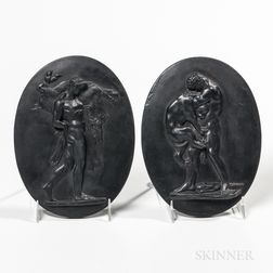 Pair of Wedgwood Black Basalt Plaques