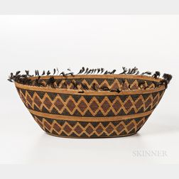 Yokuts Feathered Basketry Bowl