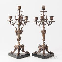 Pair of Bronze Four-light Candelabra