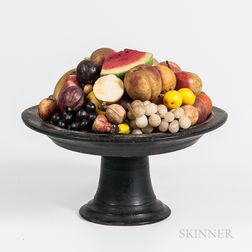 Large Turned Wood Compote with Stone Fruit