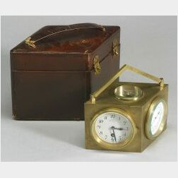 French Bronze Carriage Timepiece with Barometer, Dual Thermometer, and Compass