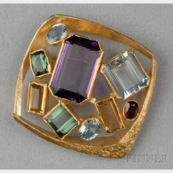 24kt and 18kt Gold Gem-set Brooch, Alexandra Watkins, Janiye