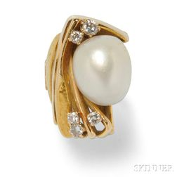 24kt and 18kt Gold, South Sea Pearl, and Diamond Ring, Janiye