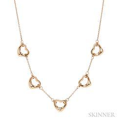 18kt Gold Open Hearts Necklace, Elsa Peretti, Tiffany & Co.