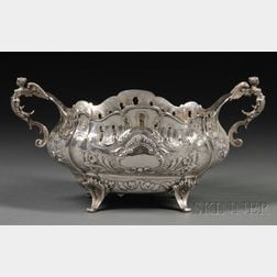 Continental Silver Reticulated Two-handled Center Bowl