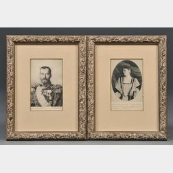 Pair of Photographic Postcards of Tsar Nicholas II and Empress Alexandra