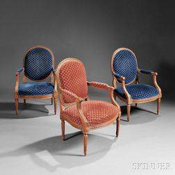 Assembled Set of Five Louis XVI and Louis XVI-style Fauteuil
