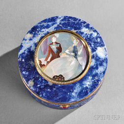 Continental Mother-of-pearl-, Gold-, and Diamond-mounted Lapis Lazuli Box