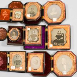 Nine Daguerreotypes and Ambrotypes in Thermoplastic Cases