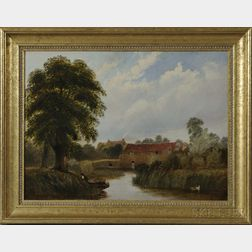Thomas Henry Hair (British, 1810-1882)      Landscape with Fisherman, Punt, and Eel Traps