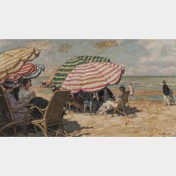 René François Xavier Prinet (French, 1861-1946)      Figures at Leisure Under Striped Beach Umbrellas