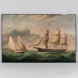 American School, Mid-19th Century      Portrait of the Three-masted Vessel UNDINE