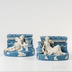 Pair of Wedgwood Solid Blue Jasper Figural Bough Pots