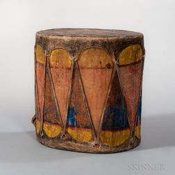 Taos Painted Wood and Rawhide Drum