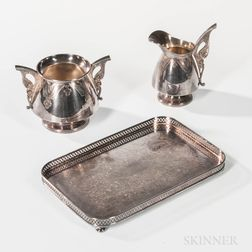 "Tiffany & Co. ""Persian"" Sterling Silver Sugar and Creamer and a Sheffield Silver-plated Reticulated Footed Tray"