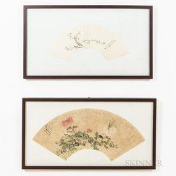 Two Framed Fan Paintings