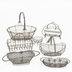Six Wirework Baskets and a Toaster