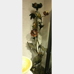 Modern Patinated Brass Figural Lotus Flower and Crane Floor Lamp.