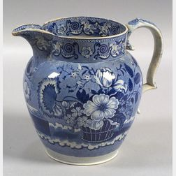 Blue Transfer Decorated Ironstone Pitcher