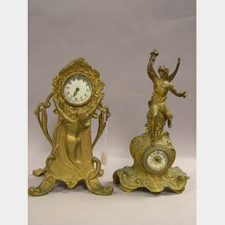 Rococo-style and Art Nouveau Gilt Cast Metal Figural Mantel Clocks