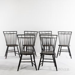 Set of Six Black-painted Turned Birdcage Windsor Chairs